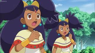 Pokemon Best Wishes: Mecha-Tyranitar attacks both Iris princesses and Golett takes the hit