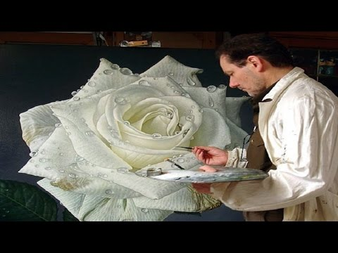 Large Flower Paintings Of Dewdrop Covered Roses █▬█ █ ▀█▀ By Gioacchino Passini