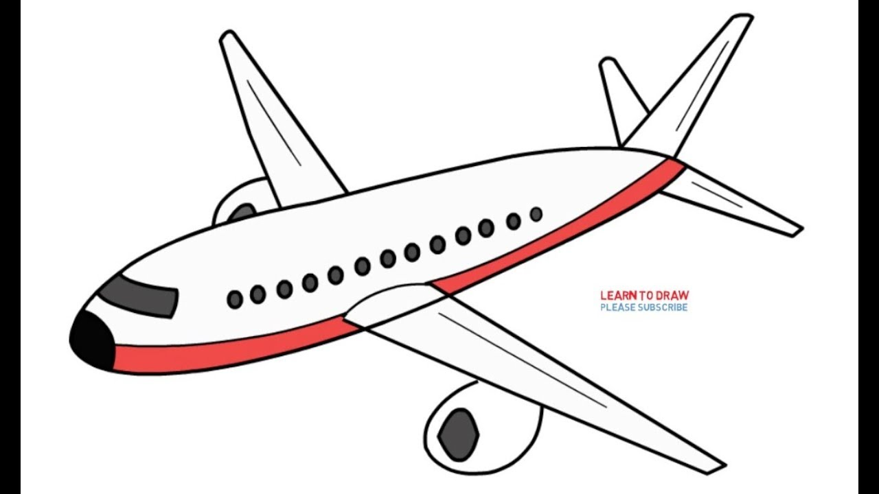 How To Draw An Airplane Step By Step Easy Youtube