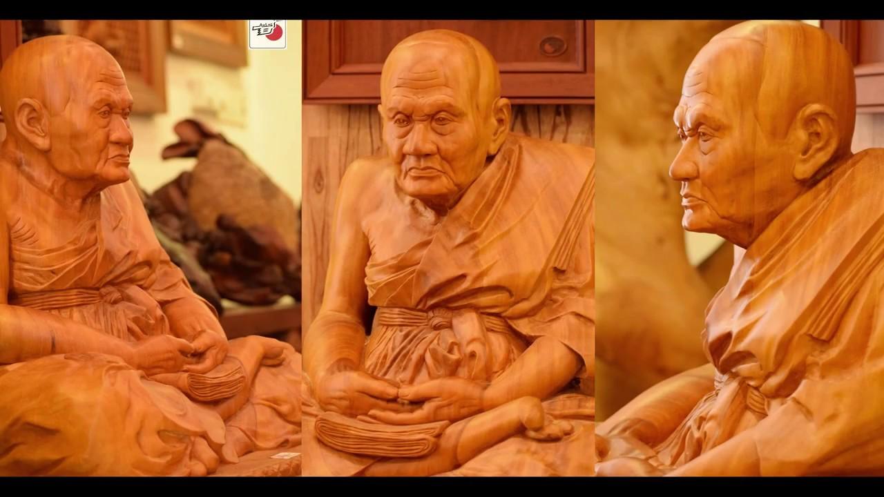 Điêu khắc chân dung truyền thần gỗ - nhà sư Thái Lan