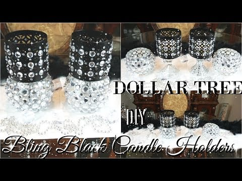 DIY DOLLAR TREE BLING BLACK CANDLE HOLDERS 💎  DOLLAR STORE DIY 💎 DIY GLAM ROOM DECOR