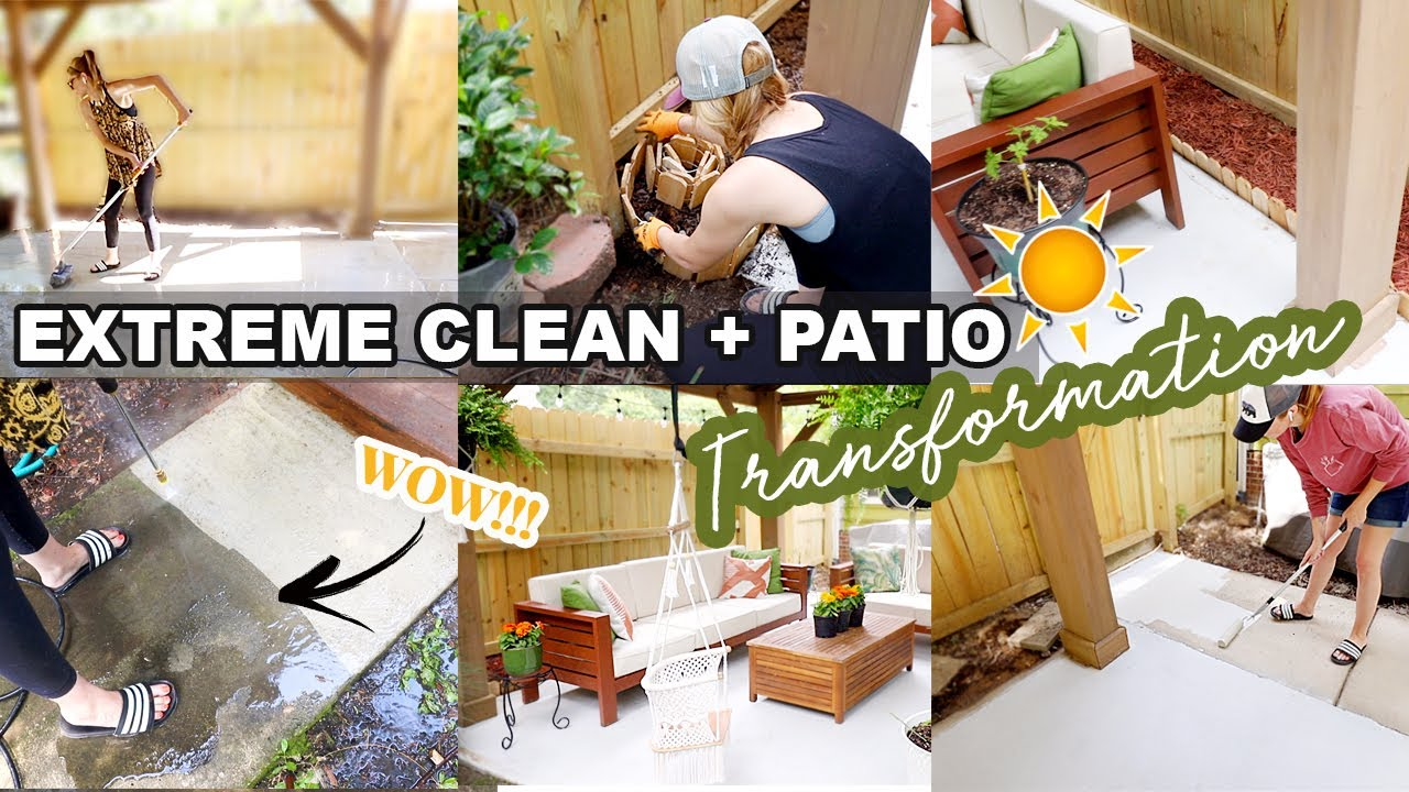 BACKYARD MAKEOVER BEFORE + AFTER \\ EXTREME CLEAN WITH ME 2020 + PATIO TRANSFORMATION!