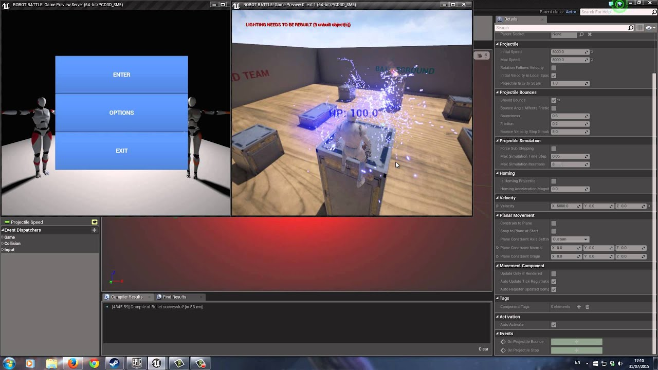 Unreal Engine 4 - Projectile Collision Problem - SOLVED!