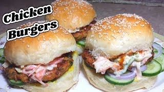 Chicken burgers recipe with homemade buns_Chicken burger recipe_Homemade chicken burger