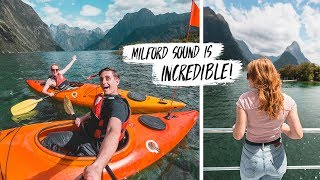 We Found The MOST BEAUTIFUL Place in NEW ZEALAND! - Milford Sound Boat Cruise & Kayak Adventure