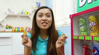 Hana Fingir Jogo W / Papelão Refrigerante Dispensador Vending Machine Kids Toys