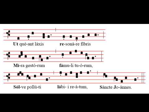 Guido D'Arezzo. Ut Queant Laxis. Himno San Juan Bautista. Partitura E Interpretación.