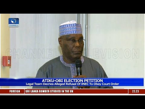 Atiku's Legal Team Decries Alleged Refusal Of INEC To Obey Court Order 24/04/19 Pt.2 |News@10|