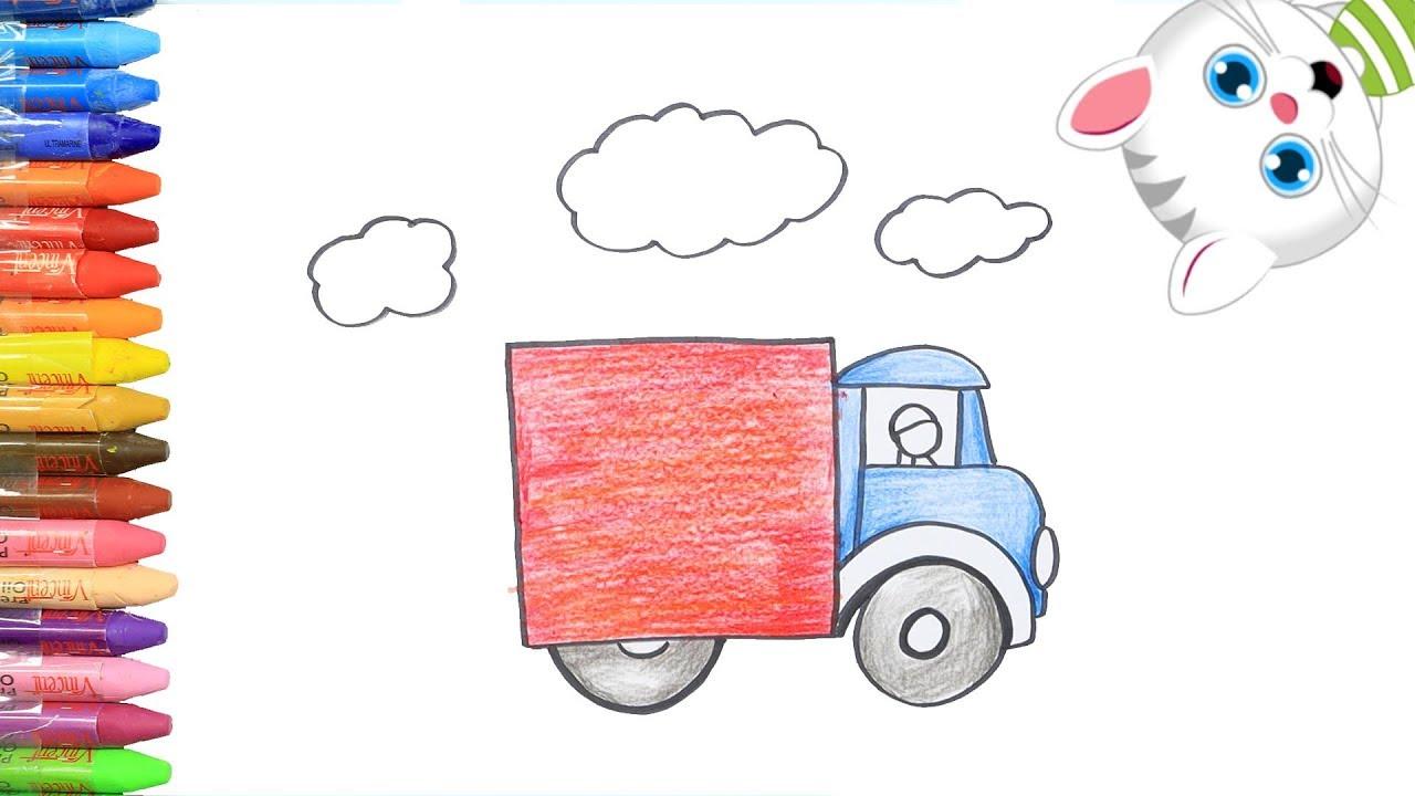 Как нарисовать Цветная Грузовик с MiMi | Раскраски детей ...