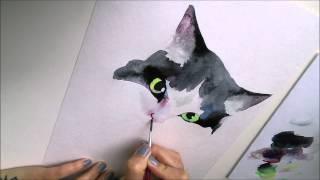 CHERNIKA ART рисунок акварелью - кошка Мура/watercolor cat 1