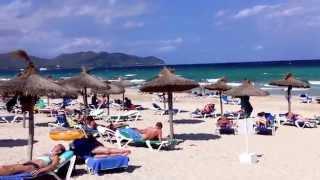 CALA MILLOR BEACH - MALLORCA, SPAIN. BEAUTIFUL WHITE SAND BEACH.