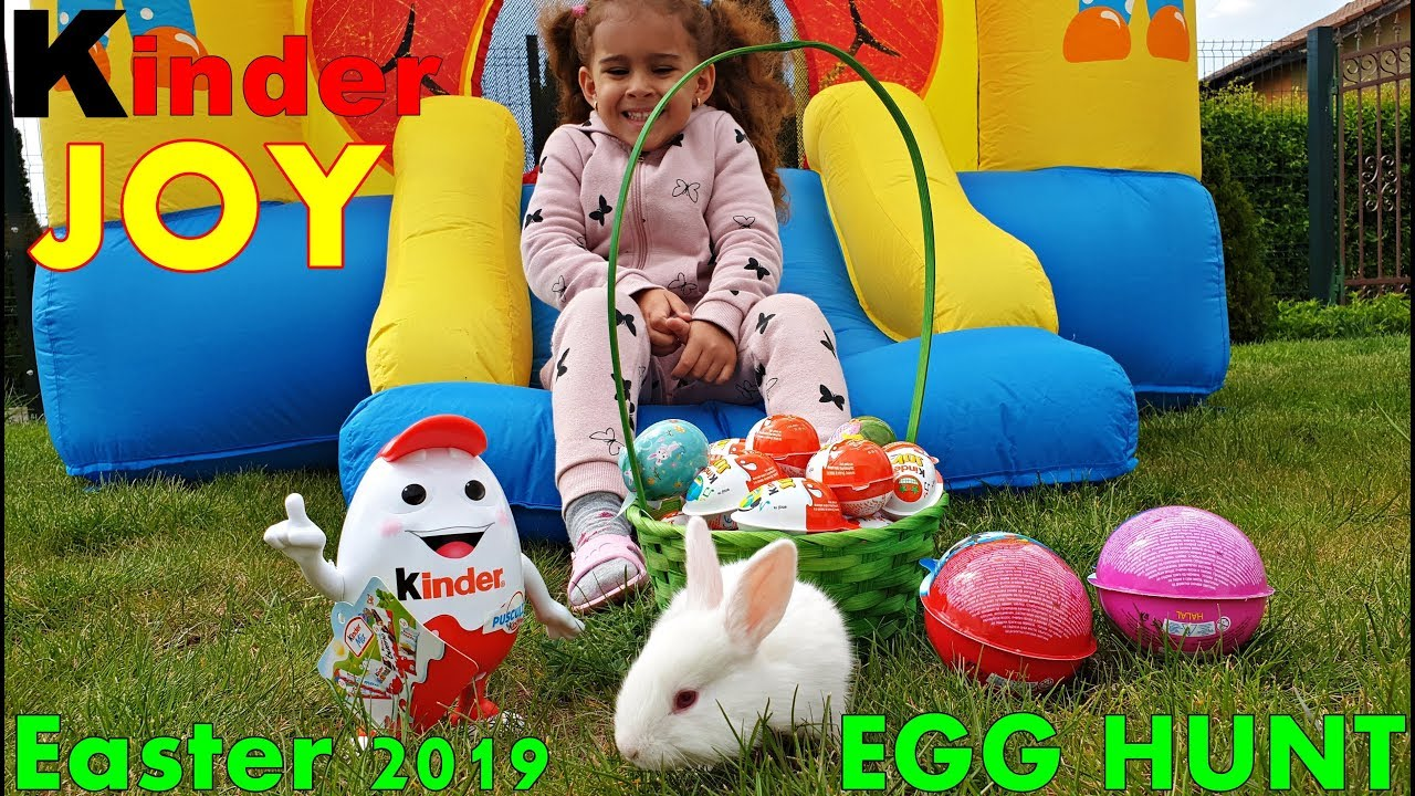 Outdoor Kinder Easter Kinder Joy Egg Hunt Challenge For Kids Outdoor Fun 2019 Bouncy House