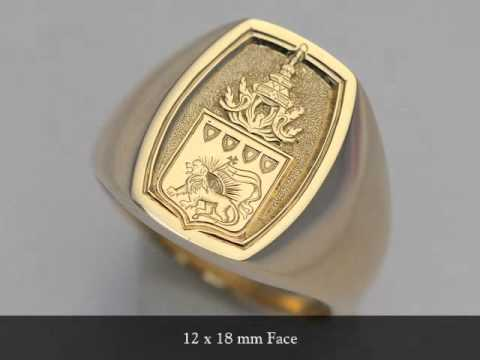 Hand Engraved Gold Signet Ring With Family Crest Youtube