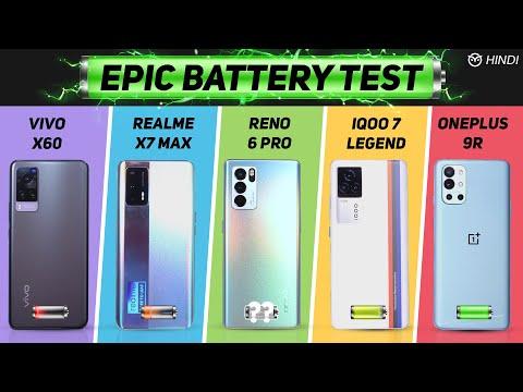 OPPO Reno6 Pro vs Vivo X60, Oneplus 9R, Realme X7 Max Battery Drain Test   Charging   Gaming Test