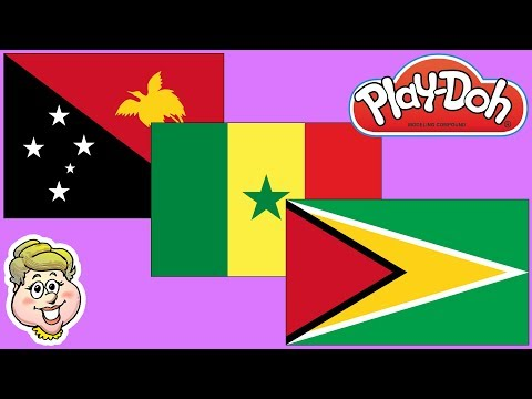 Play-Doh Flags! Papua New Guinea, Senegal, and Guyana! EWMJ #464