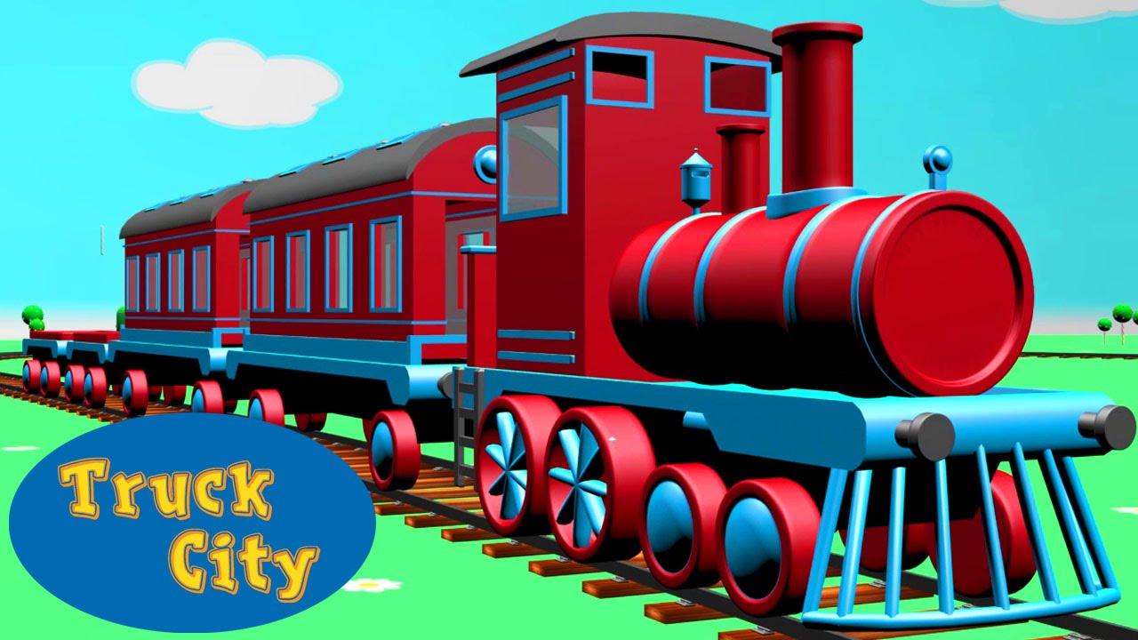 Train The Locomotive Engine Around Truck City Construction Game