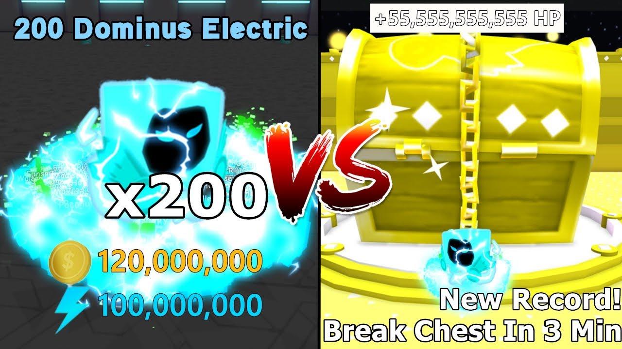 200 Dominus Electric VS Dominus Chest! Break Dominus Chest In 3 Mins! New Record - Pet Simulator