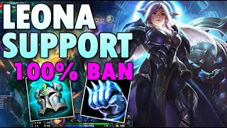 100% BAN Leona Support season 10 Build League of Legends LOL S10 Leona Support Gameplay