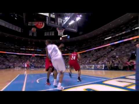 Nicolas Batum spectacular  block on Arron Afflalo layup attempt vs Denver Nuggets