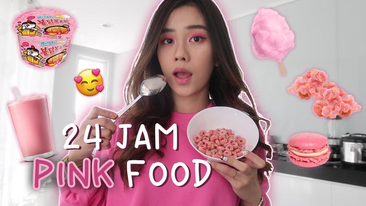 24 Jam Cuman Makan Yang Warna Pink Doang Youtube