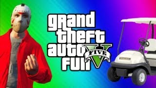 GTA 5 Online Funny Moments Gameplay 3 - Jerking, Golf Cart, Invisible Train Glitch (Multiplayer)