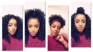 4 አይነት የጸጉር አያያዝ / 4 Ways To Style A Curly Half Wig. Selamawit Seyoum