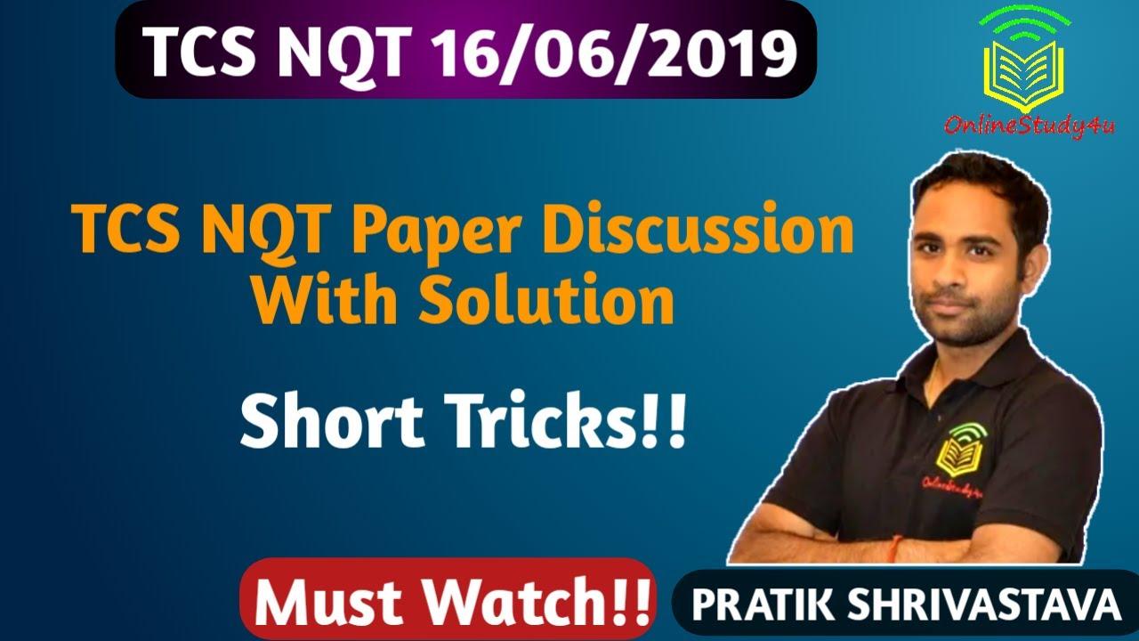 Questions Asked in TCS NQT 16 June 2019 Quant ! Easy Trick Discussion by  Pratik Shrivastava !