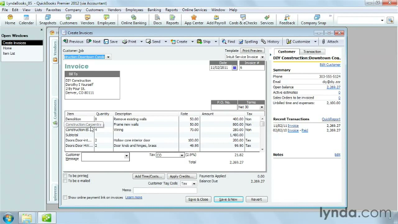 How To Use Items In QuickBooks Pro Lyndacom Tutorial YouTube - Quickbooks invoice list