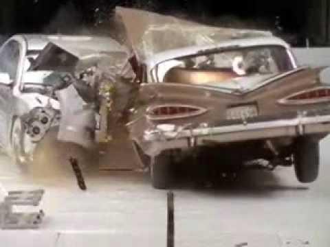 Crash Test 1959 Chevrolet Bel Air VS. 2009 Chevrolet Malibu (Frontal Offset) IIHS 50th Anniversary