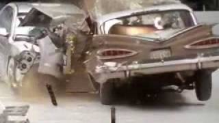 Crash Test 1959 Chevrolet Bel Air VS. 2009 Chevrolet Malibu (Frontal Offset) IIHS 50th Anniversary
