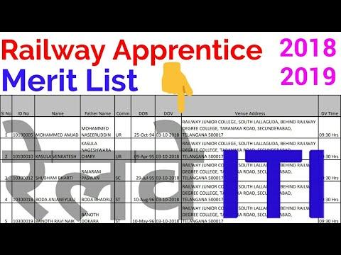 Railway Apprentice Merit List   | SCR Apprenticeship Result | Railway Apprenticeship Merit List