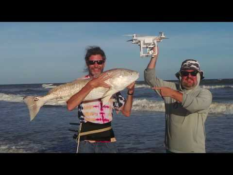 Drone Fishing Texas - 2 Monster RedFish At Once With The Gannet On A Phantom 3 Professional Drone