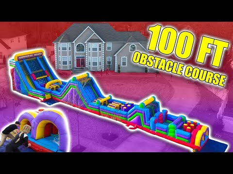 100FT INFLATABLE OBSTACLE COURSE AT MY HOUSE!