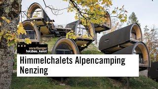 vorarlberger holzbau_kunst: Zimmerei Heiseler - Himmelchalets Alpencamping Nenzing