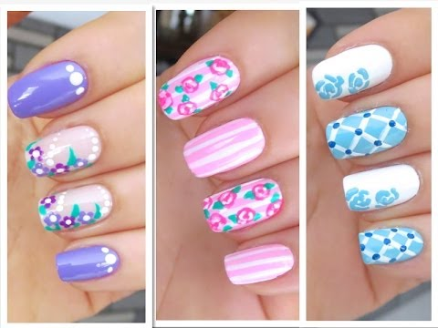3 Cute Nail Art Designs for Spring/Summer - #1 - 3 Cute Nail Art Designs For Spring/Summer - #1 - YouTube
