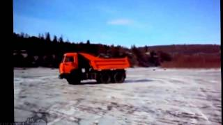 Tests of a new dump truck Kamaz 55111, Winter Drift