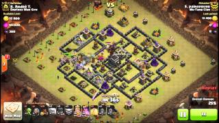 Clash of Clans 3 star war Attack Stoned GoHo Tight Knit base Max TH9 4 quakes