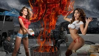 Brittney Palmer and Arianny Celeste heat up for UFC 169 - Body Painting!!!