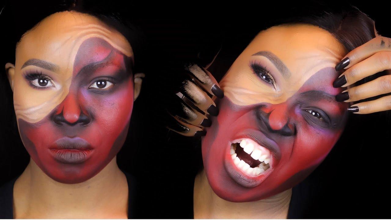 demon pulled up skin halloween makeup tutorial youtube - 1280×720
