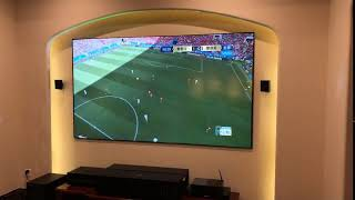 vava 4k laser projector daytime watching sports in living room