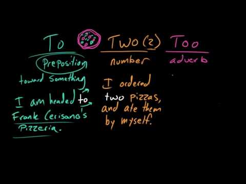 To, two, and too | Frequently confused words | Usage | Grammar
