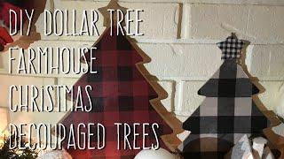 DIY Dollar Tree  Farmhouse Christmas  Decoupaged Trees