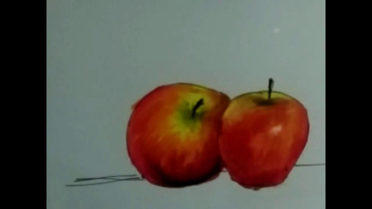 Cara Mewarnai Gradasi Warna Crayon Buah Apel Youtube