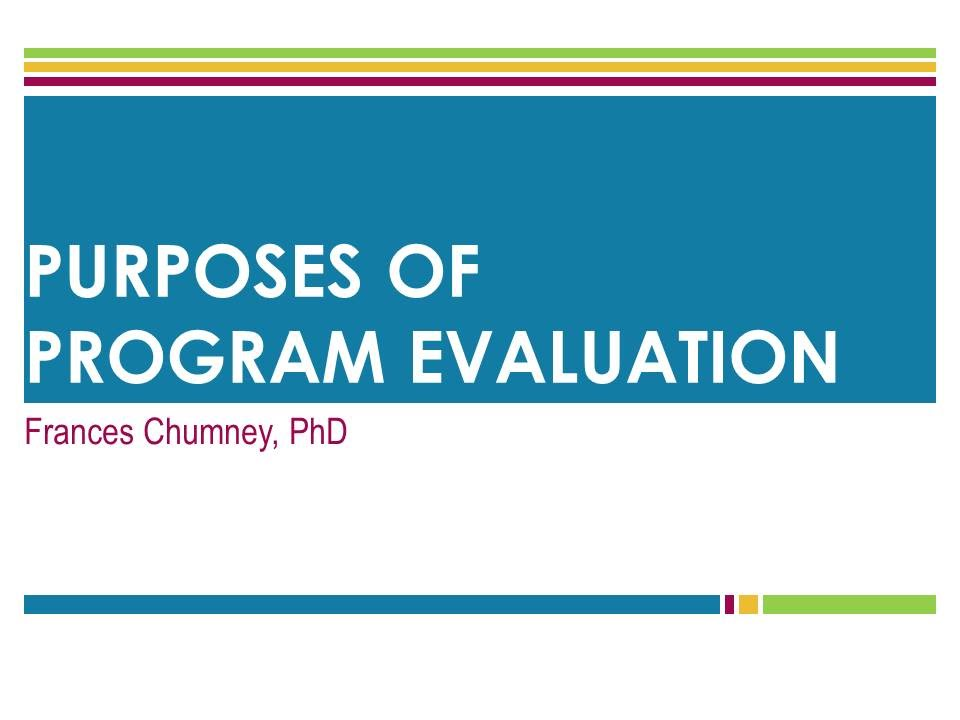 Program Evaluation Purposes - YouTube - Program Evaluation