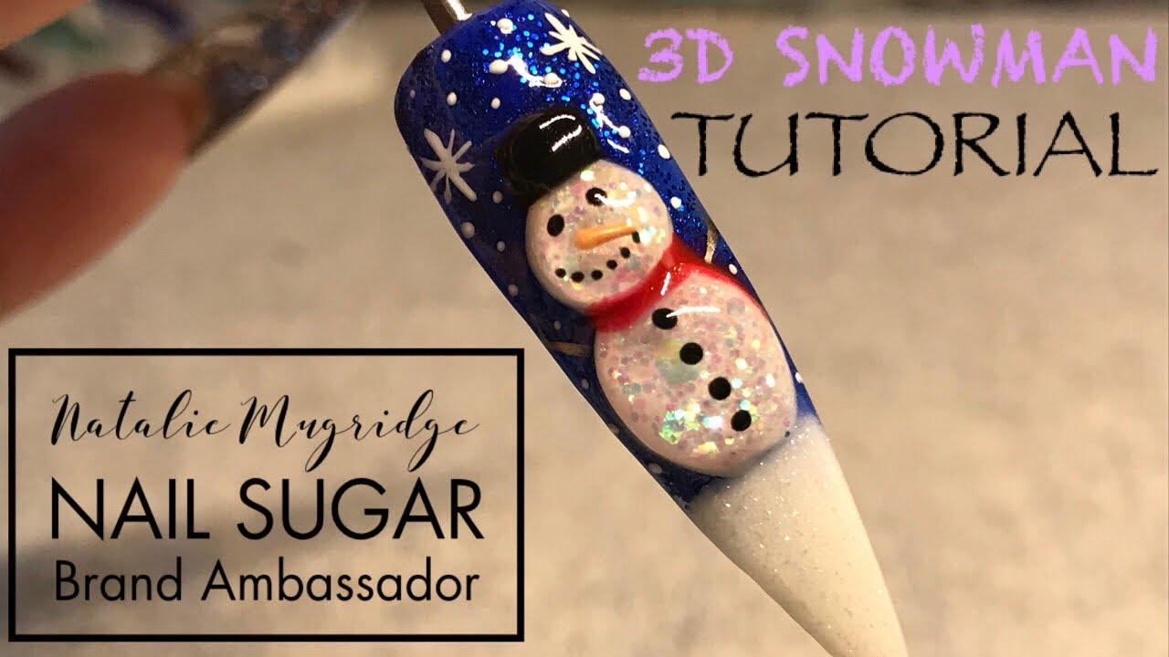 Snowman Tutorial Acrylic Nail