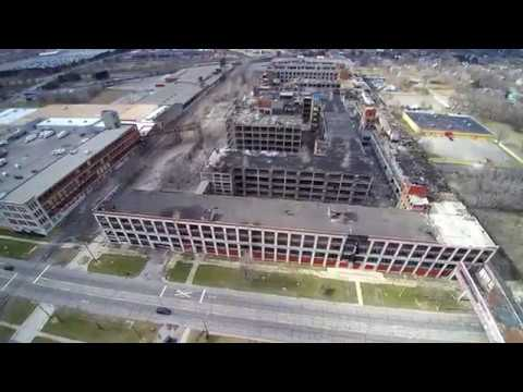 Packard Plant Detroit Michigan Drone Footage April 2018