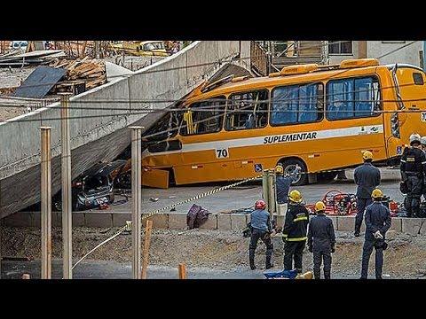 Moment Brazil bridge collapses near World Cup stadium caught on camera