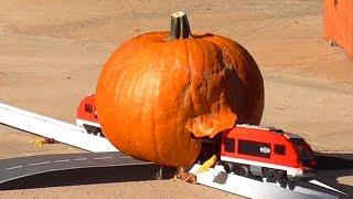 A train plunges in to a pumpkin