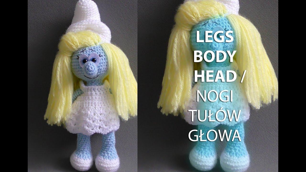 Amigurumi crochet SMURFETTE/SMERFETKA  Part 1/5: LEGS, BODY & HEAD / NOGI,  TUŁÓW i GŁOWA