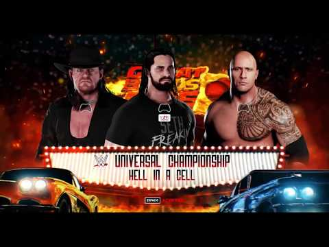 WWS Nation Great Balls Of Fire: HIAC Match for UC : Seth Rollins vs The Rock(C) vs The Undertaker